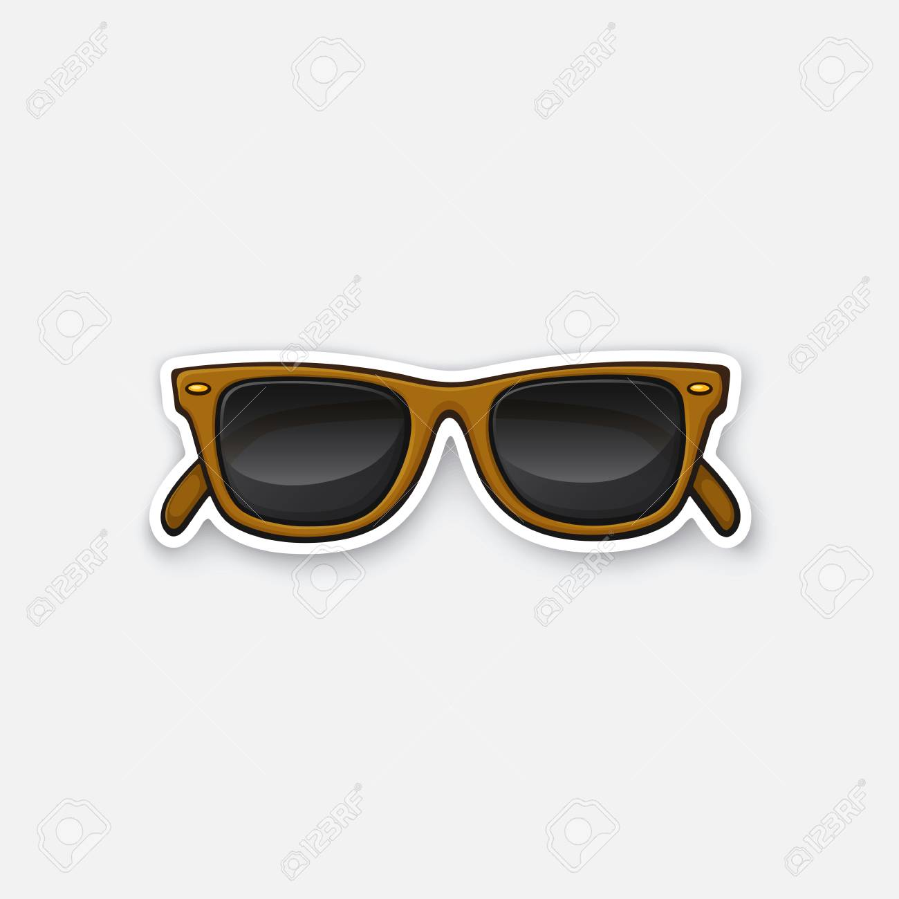 e5b5ea8151 Retro sunglasses horn-rimmed glasses. Sticker in cartoon style with  contour. Decoration for greeting cards
