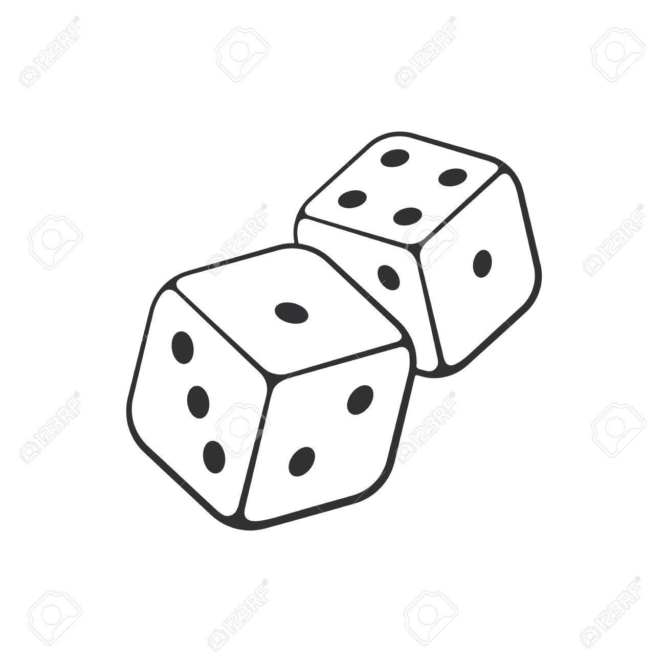 ベクトルの図 手の輪郭の 2 つの白いサイコロの描かれた落書き ギャンブルのシンボル 漫画のスケッチ グリーティング カード ポスター エンブレムのための装飾の壁紙します のイラスト素材 ベクタ Image