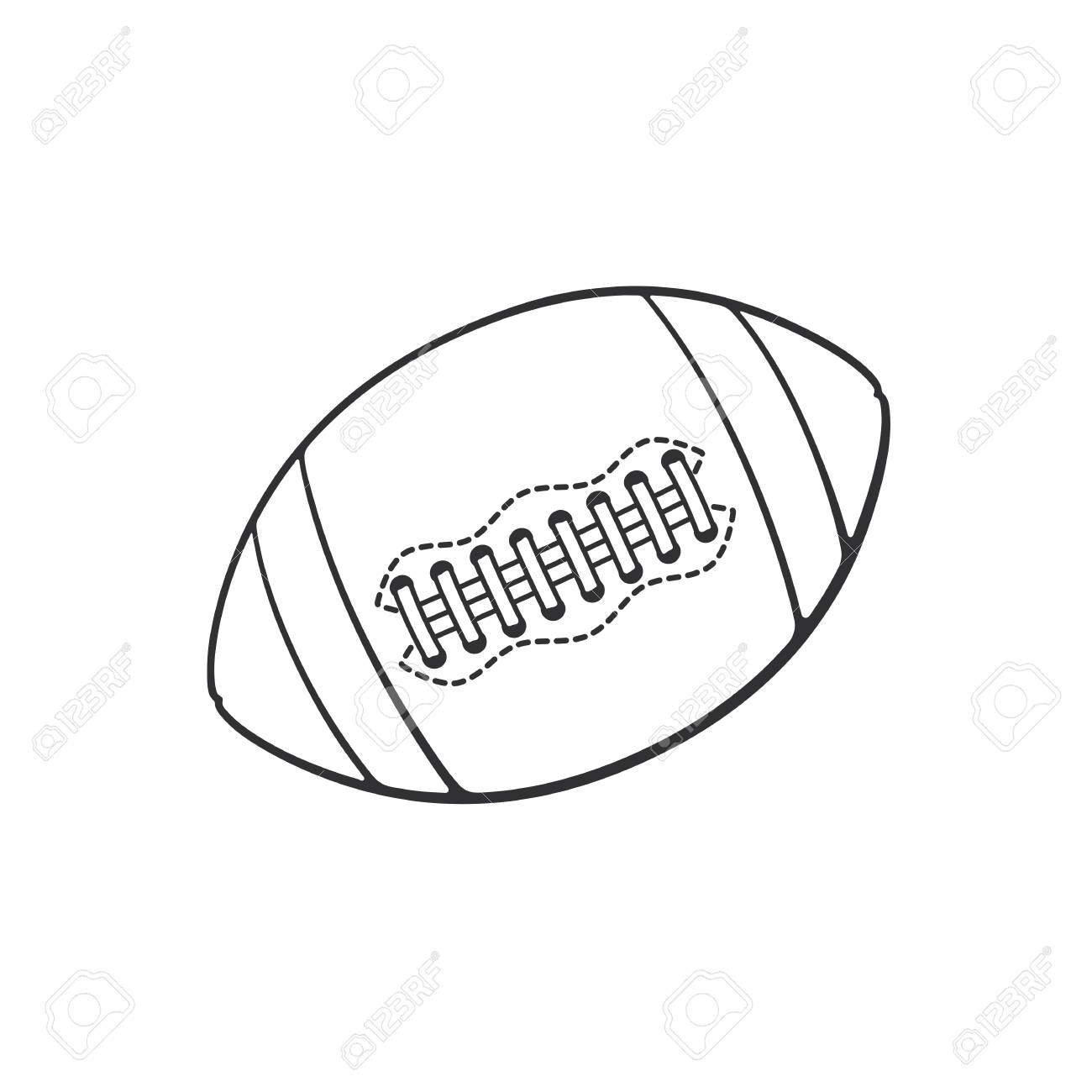 Hand drawn doodle of leather american football or rugby ball sports equipment cartoon sketch decoration for greeting cards posters emblems wallpapers