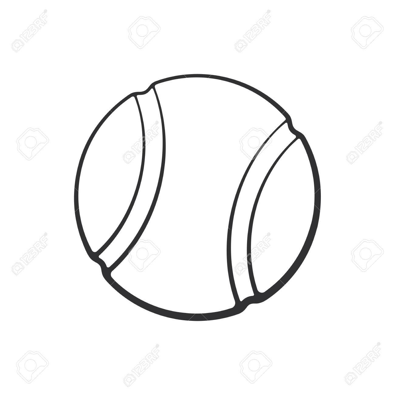Vector Illustration Hand Drawn Doodle Of Tennis Ball Sports