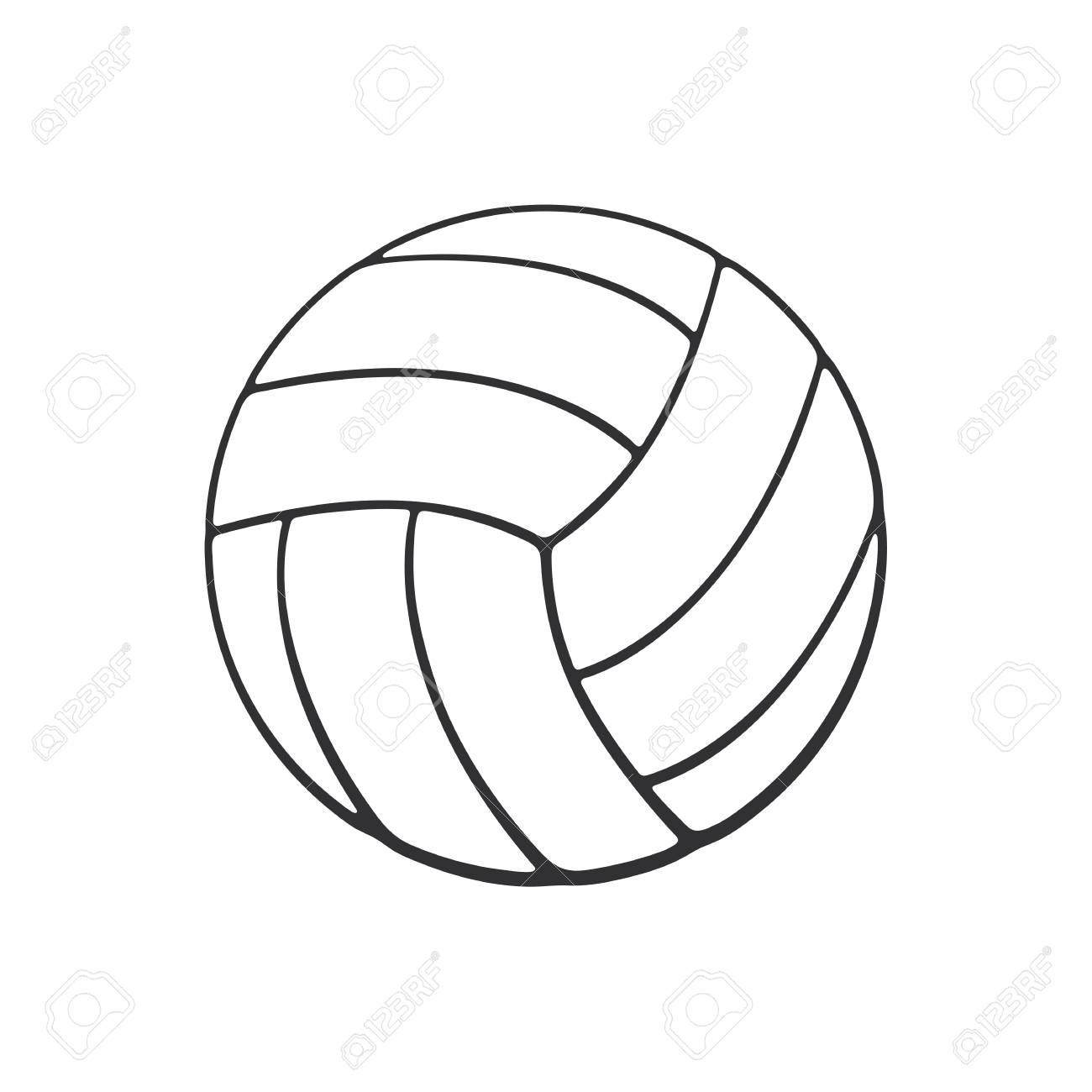 Coloriage Ballon De Volley.Illustration Vectorielle Doodle Dessine A La Main De Ballon De Volley Ball En Cuir Equipement Sportif Esquisse De Dessin Anime Decoration Pour