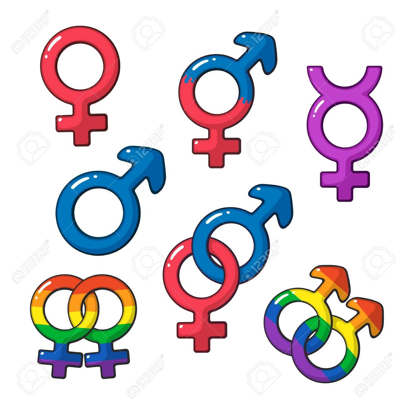 Vector illustration cartoon set of gender symbols with rainbow cartoon set of gender symbols with rainbow signs cartoon style with contour buycottarizona