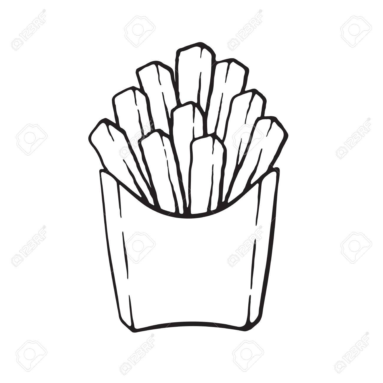 Vector Illustration Hand Drawn Doodle Of French Fries In A Paper