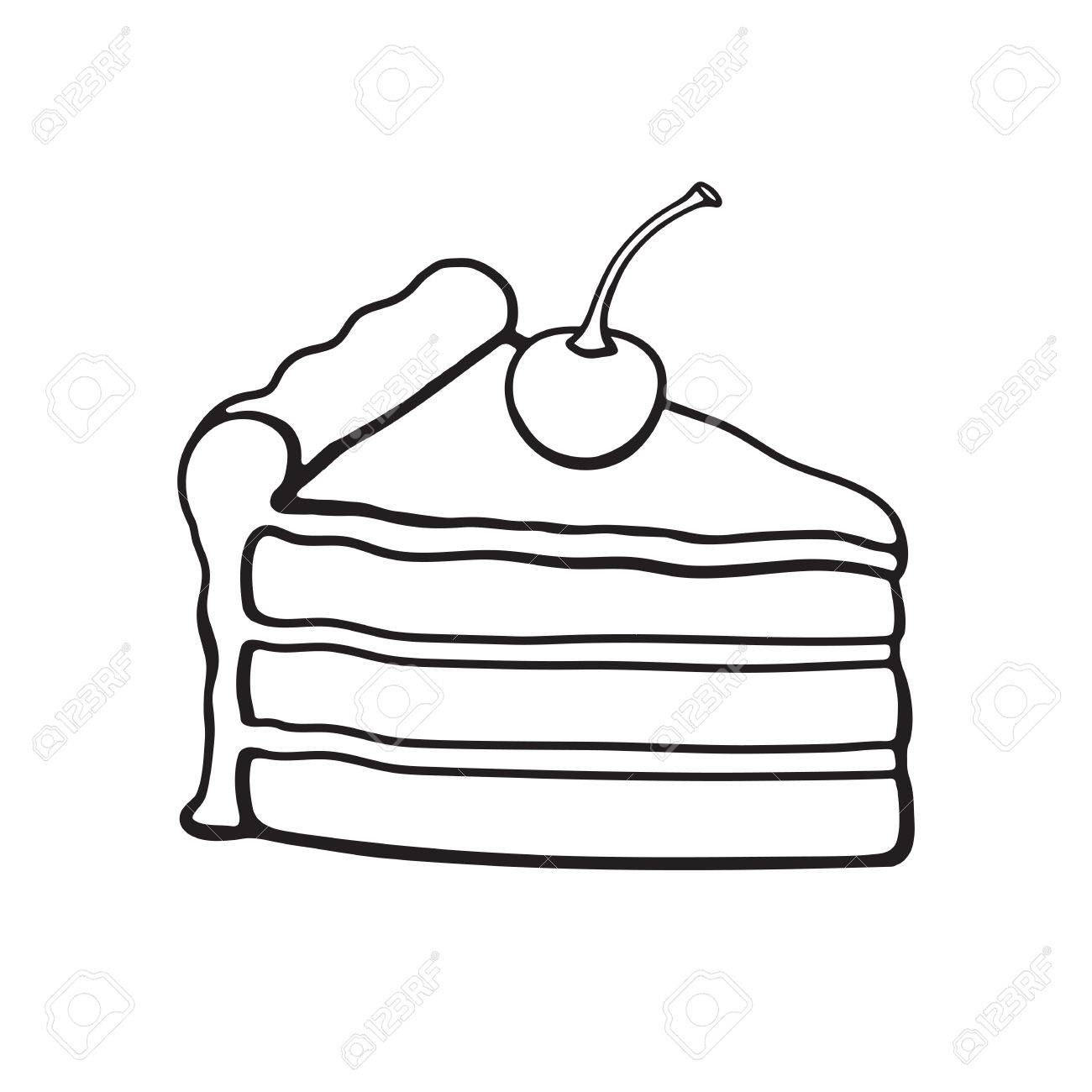 Vector Illustration. A Piece Of Cake With Chocolate Cream And ... for Drawing Cake Slice  150ifm