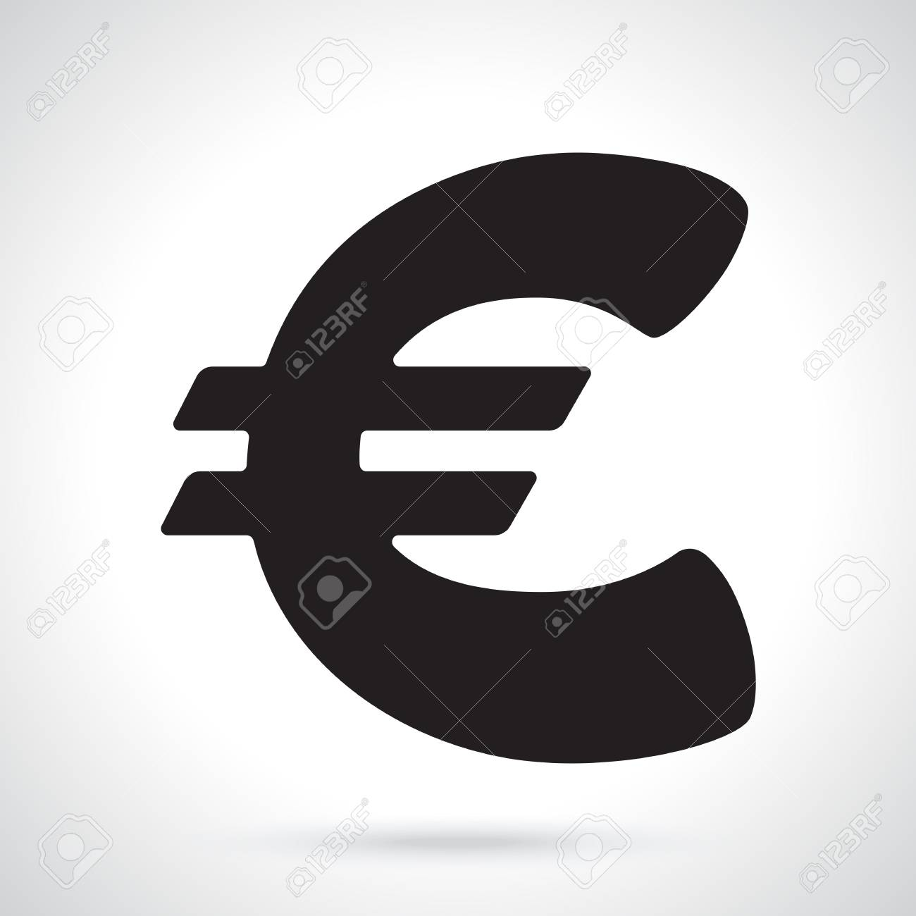 Vector Illustration Silhouette Of Euro Sign The Symbol Of World