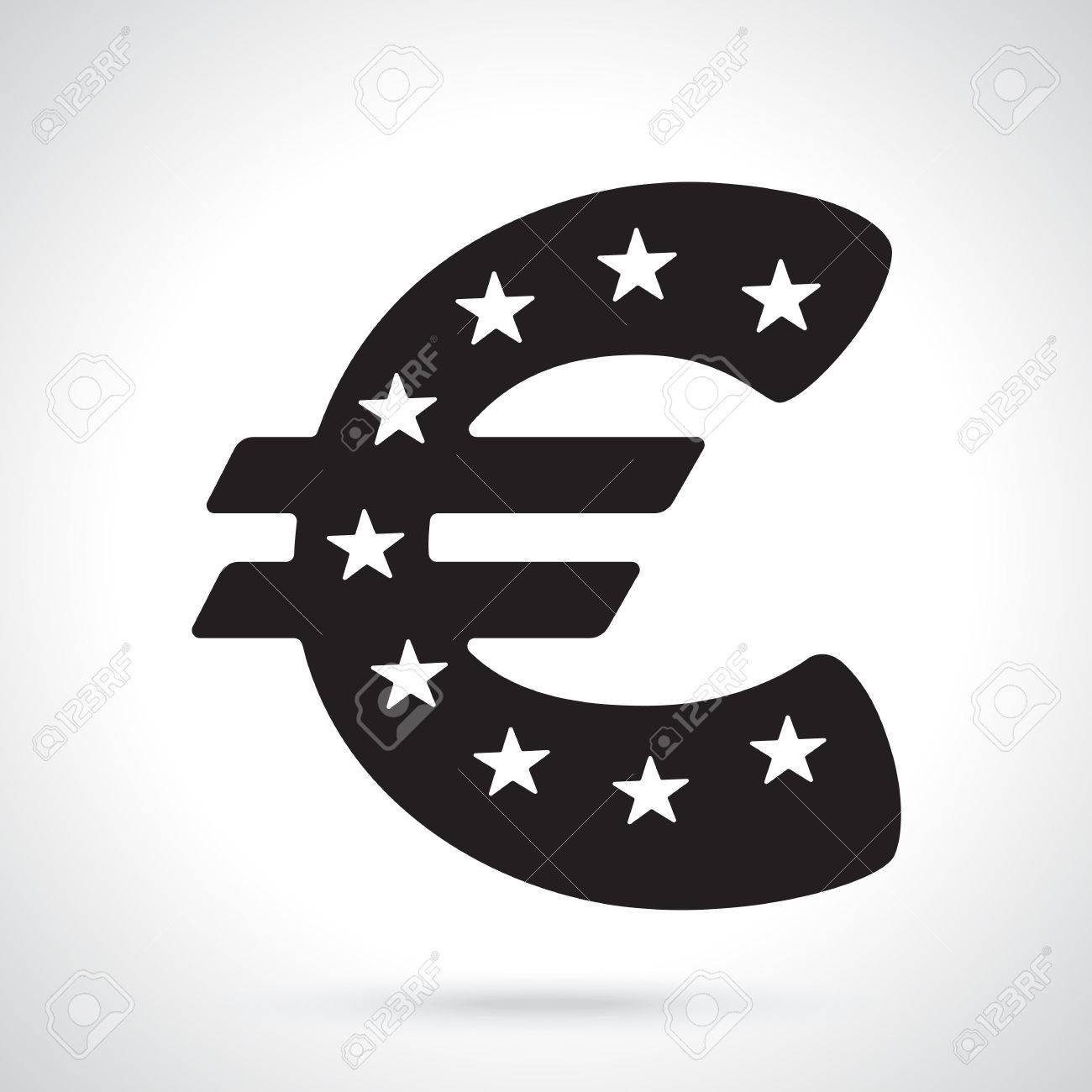 Vector illustration silhouette of euro sign with stars the silhouette of euro sign with stars the symbol of world currencies biocorpaavc