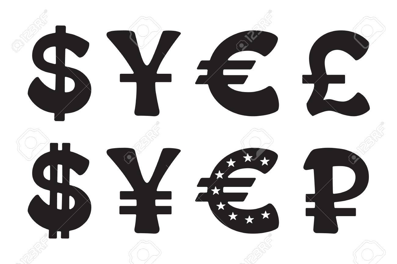 Sign Of American Dollar European Euro Japanese Yen And Chinese