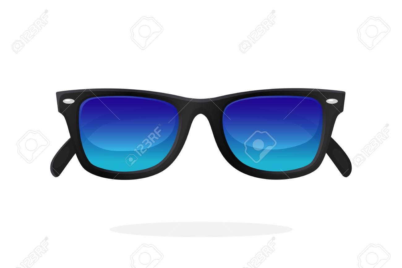 Moderne Sonnenbrille Mit Schwarzen Kunststoffrahmen Und Blauen ...