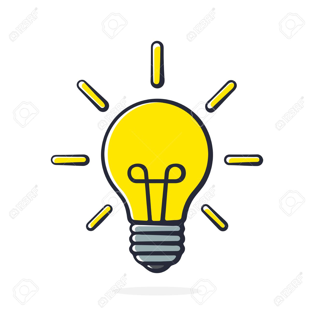 Illustration Vectorielle Ampoule A Faisceau Lumineux En Style Pop Art Dessin Avec Contour Isole Sur Fond Blanc Clip Art Libres De Droits Vecteurs Et Illustration Image 82167896