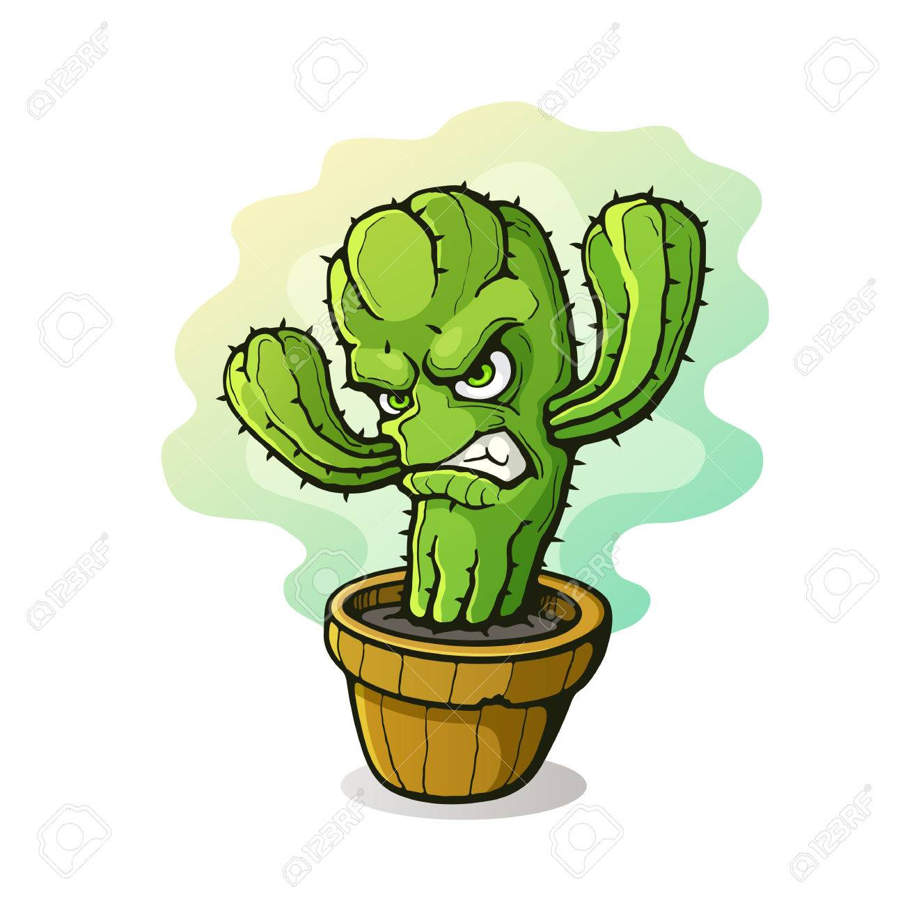 Illustration Vectorielle Cactus pineux En Colre A Serr Les