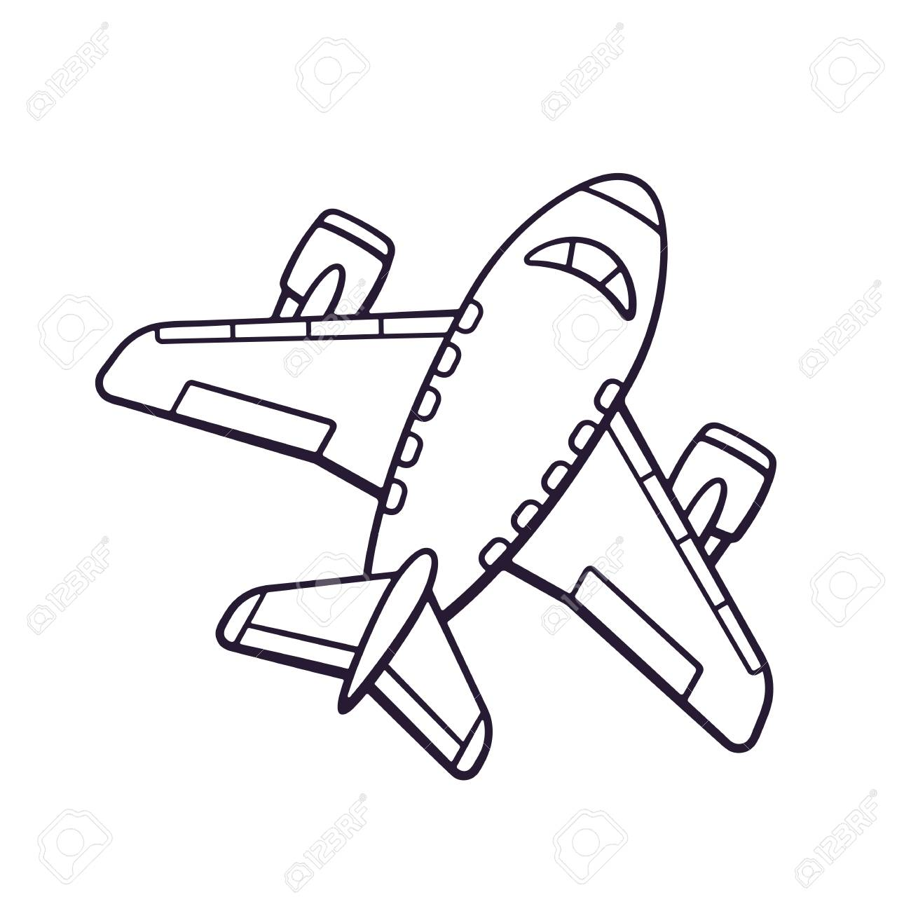 Hand Drawn Doodle Of Toy Plane Travel By Airplane Transport Cartoon Sketch Isolated On White Background