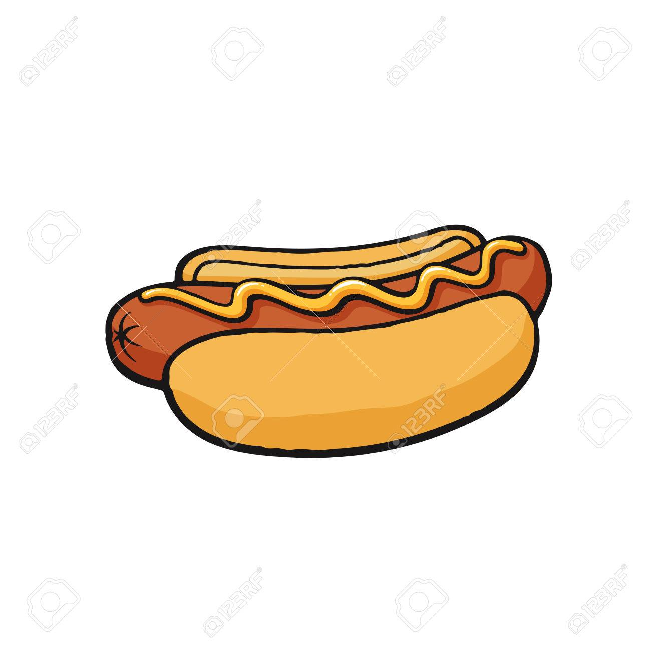vector illustration hot dog with mustard sausage with bread rh 123rf com