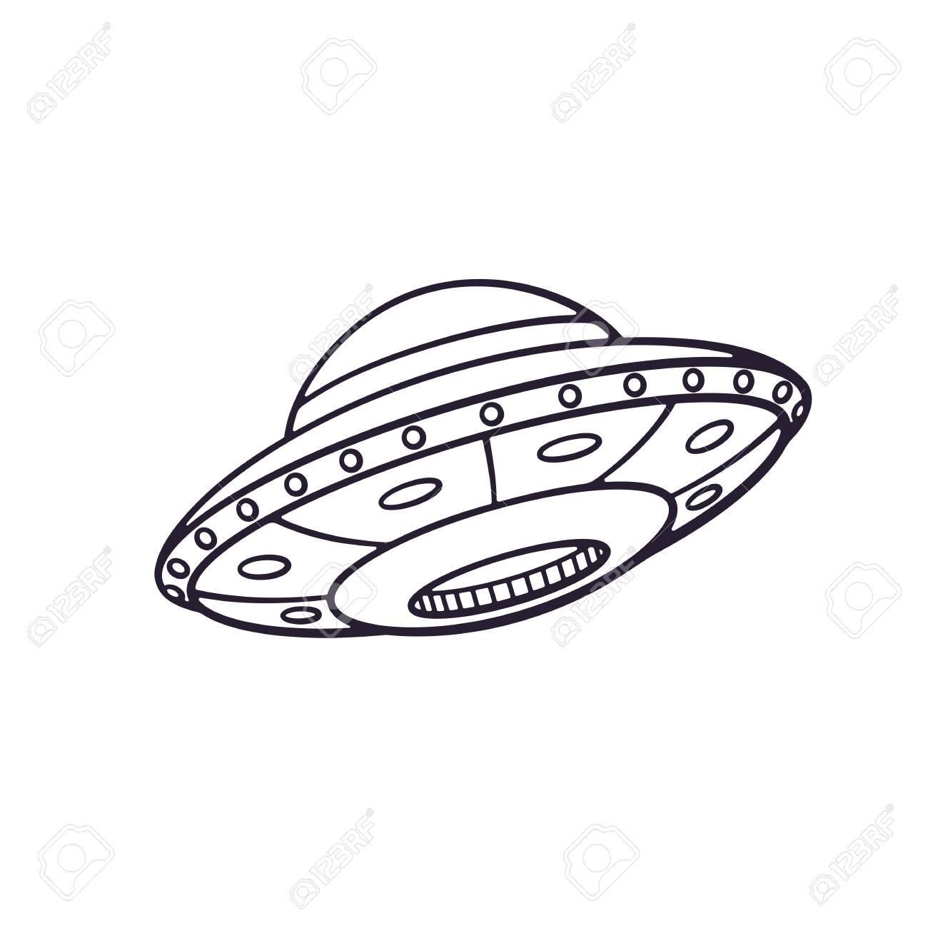 Dessin Vaisseau Spatial illustration vectorielle doodle dessinés à la main du vaisseau