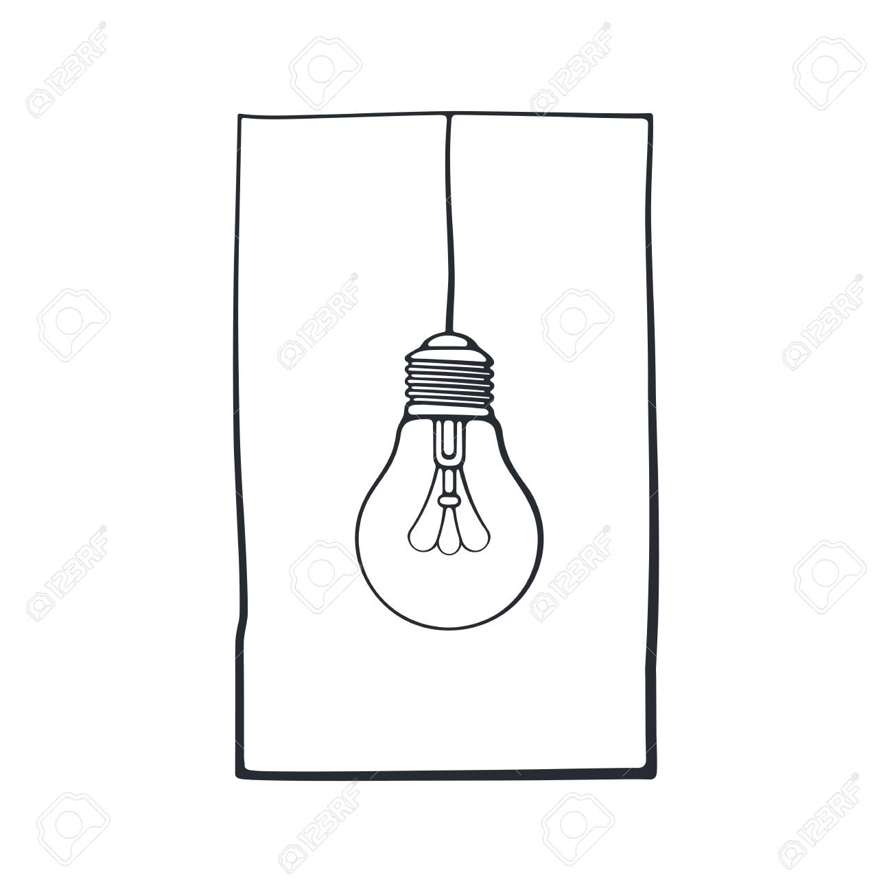 Vector illustration hand drawn doodle of light bulb on the wire hand drawn doodle of light bulb on the wire in a frame biocorpaavc Gallery