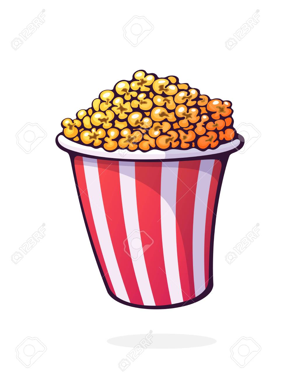 Bucket Full Of Popcorn Red And White Striped Paper Cup With Royalty Free Cliparts Vectors And Stock Illustration Image 148905951