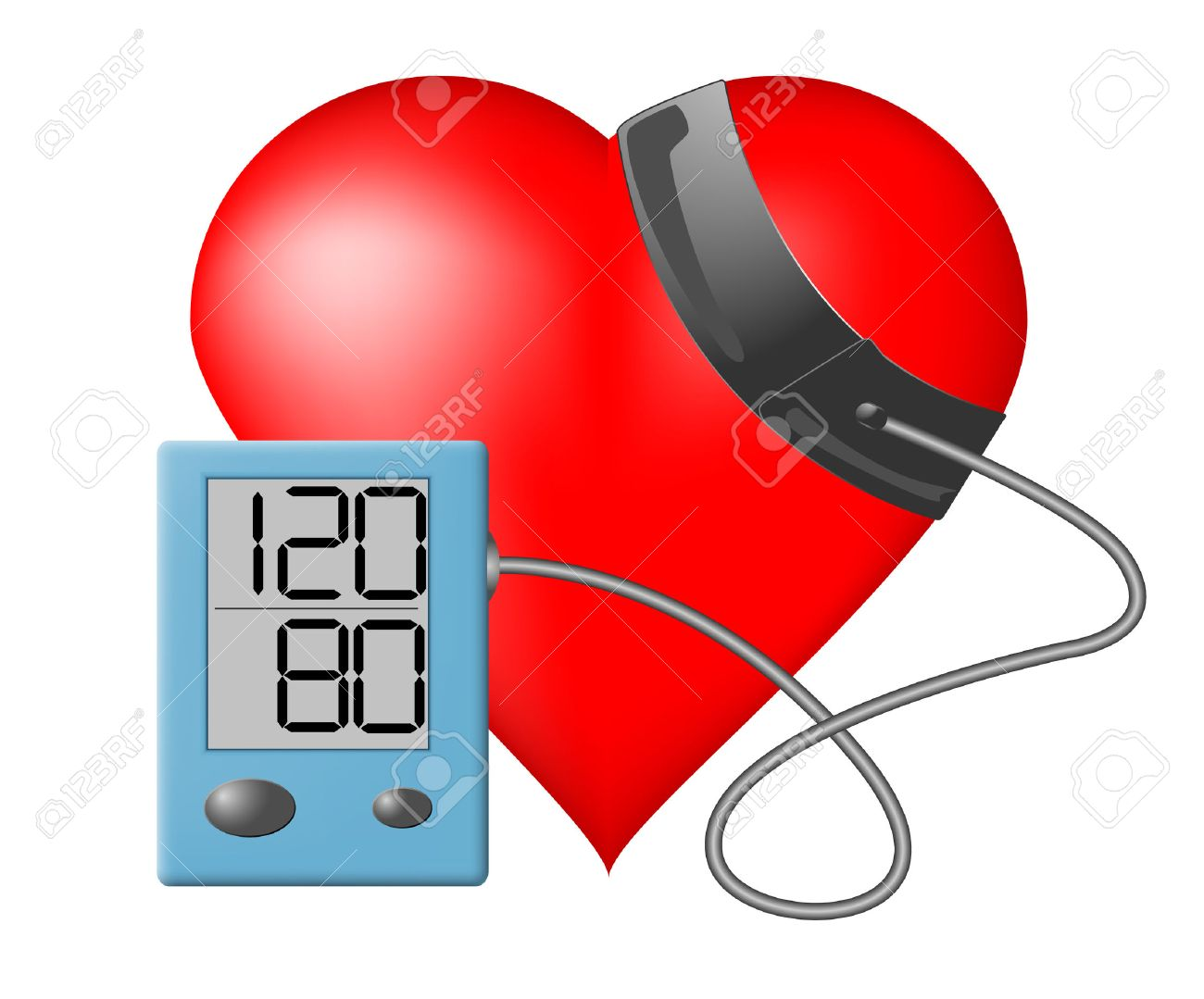 Heart and blood pressure monitor on a white background - 24542756