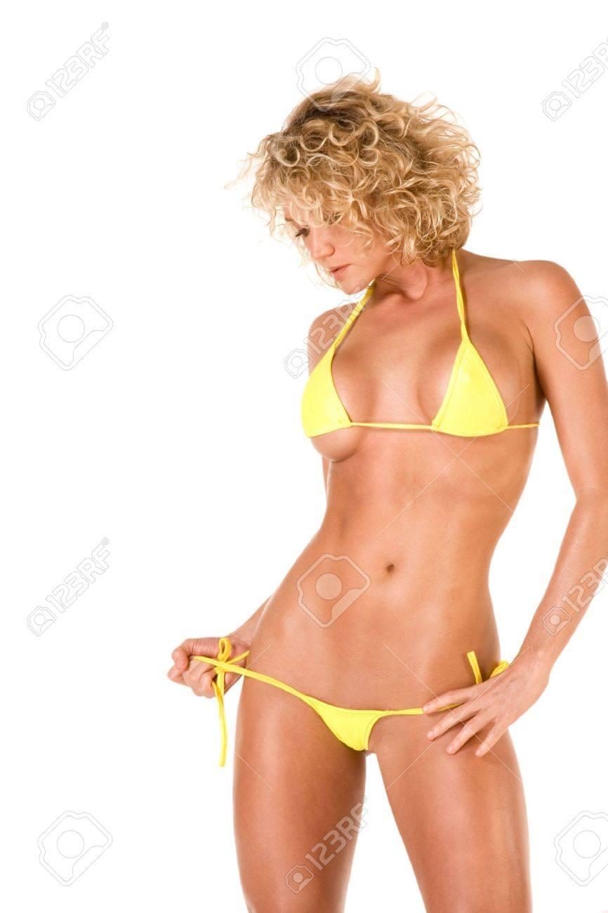 Blonde sexy jeune femme en maillot de bain maigre Banque d'images - 3030186