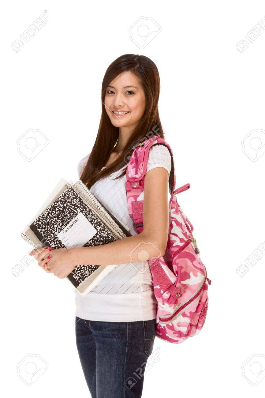 0baeefcd0c Friendly Asian High school girl student standing in jeans with backpack and  holding notebooks and composition