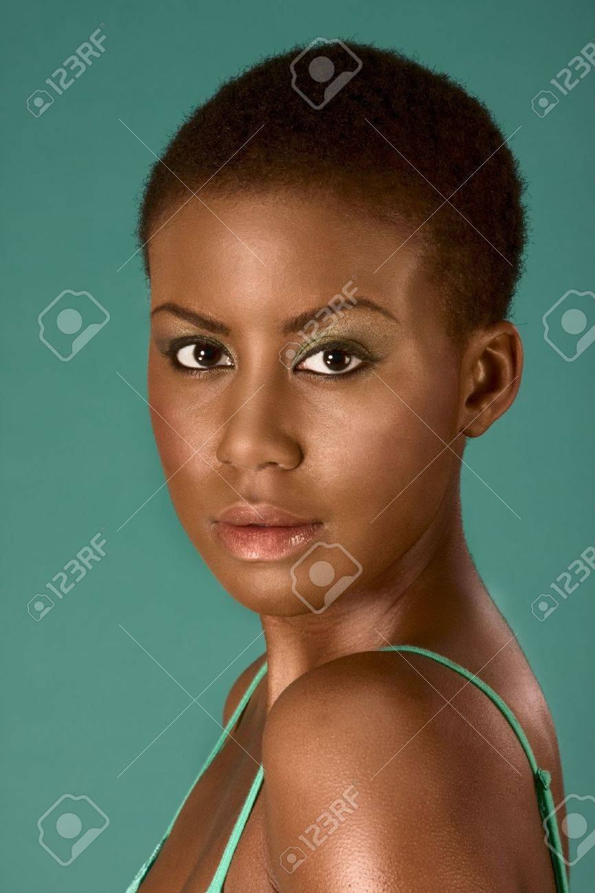 Portrait of young beautiful Afro American woman with short hair wearing make up Stock Photo - 3944431