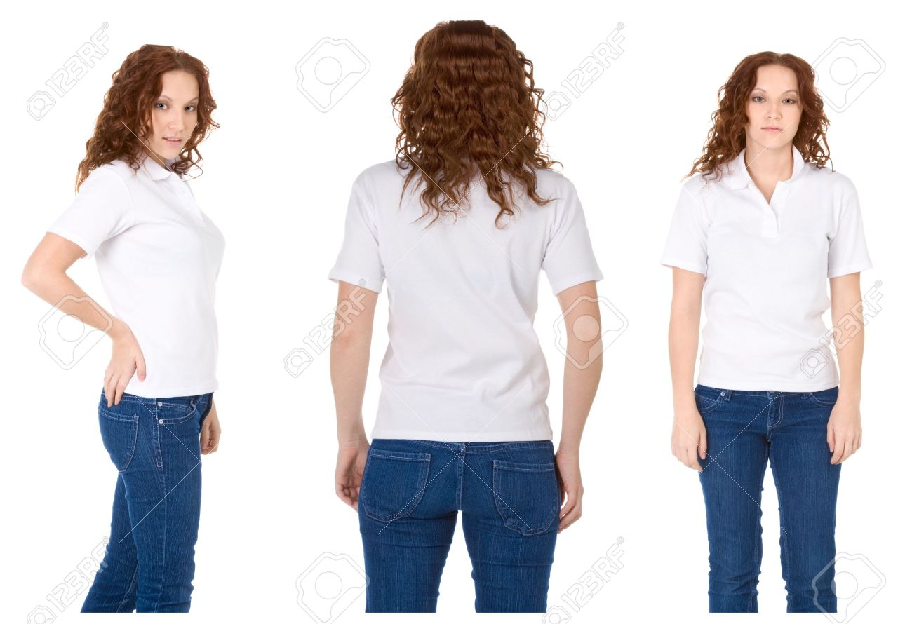 Fashion model in white t-shirt and blue jeans (Multiple angles) Stock Photo - 6927293