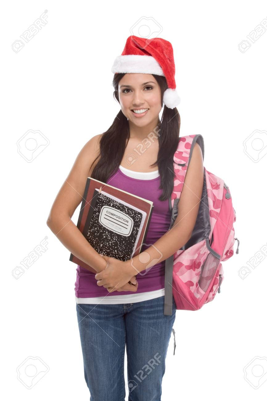 Christmas friendly Latina High school student schoolgirl wearing red Santa Claus hat with backpack Stock Photo - 9241041