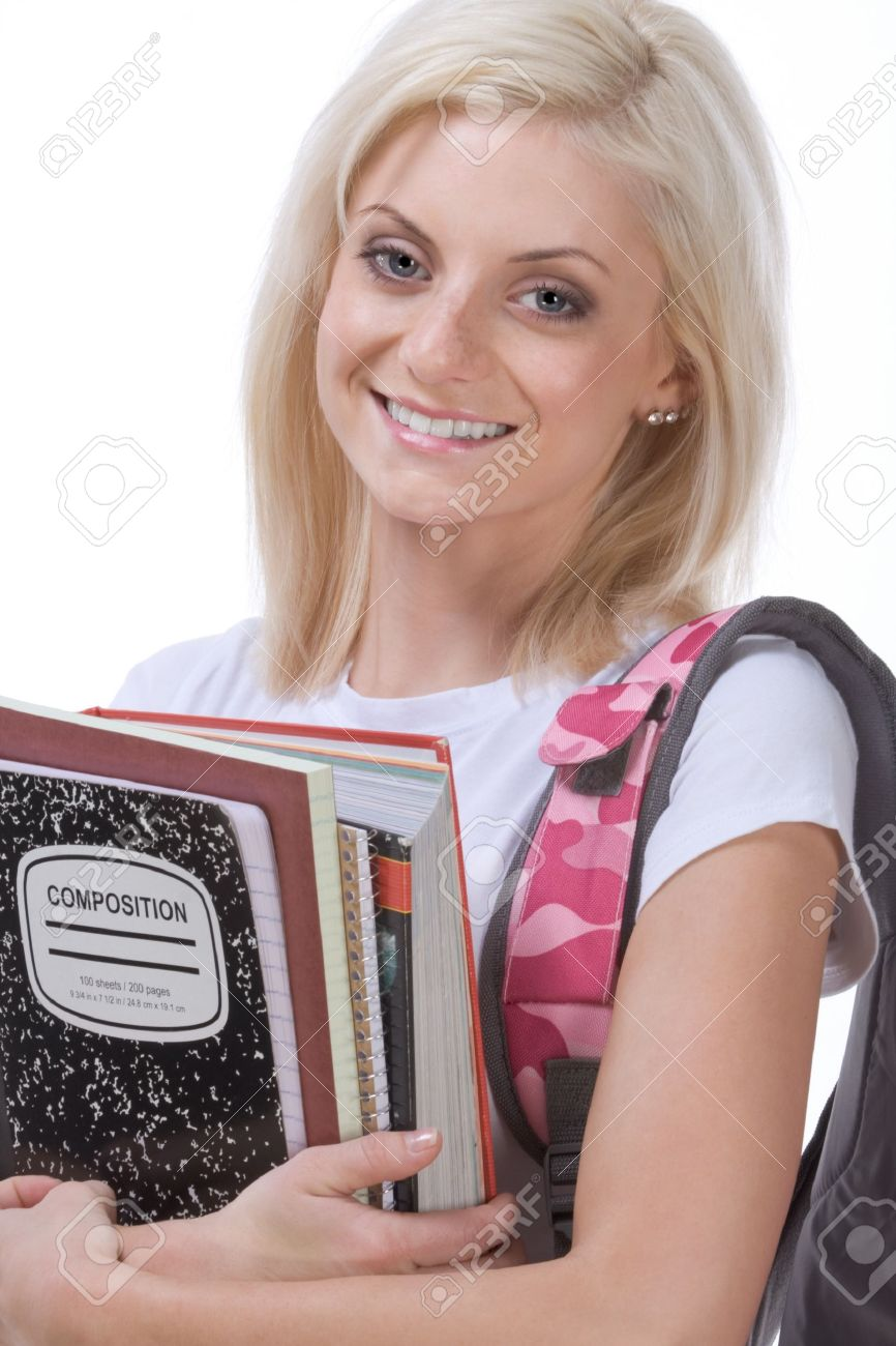 education series - Young blond Caucasian female college or high school student with backpack and composition book Stock Photo - 11930739