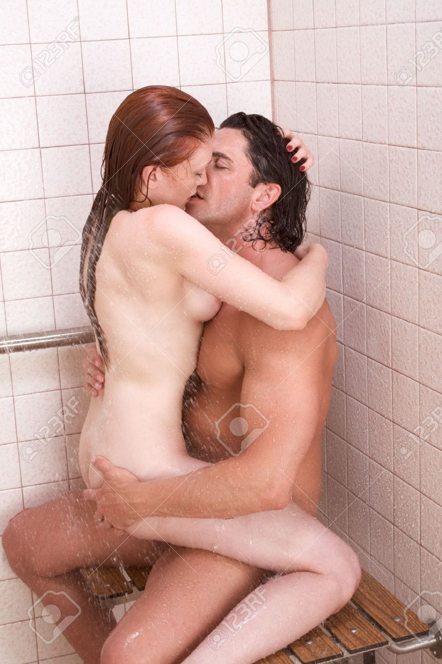 Naked couples cuddling in the shower