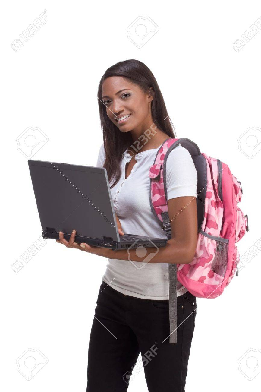 education series template - Friendly ethnic black woman high school student typing on portable computer Stock Photo - 12163757