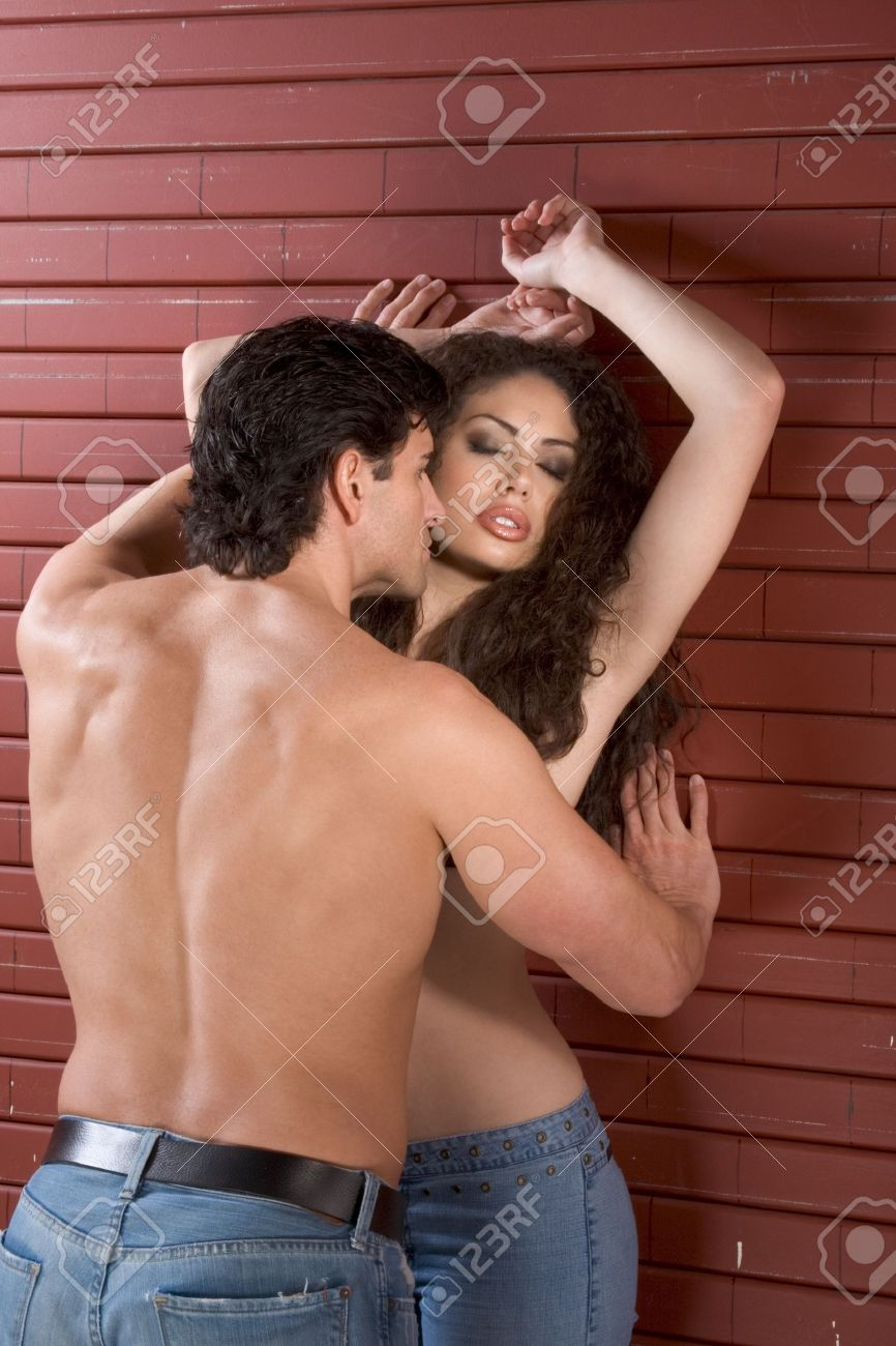loving affectionate nude heterosexual couple in affectionate.. stock