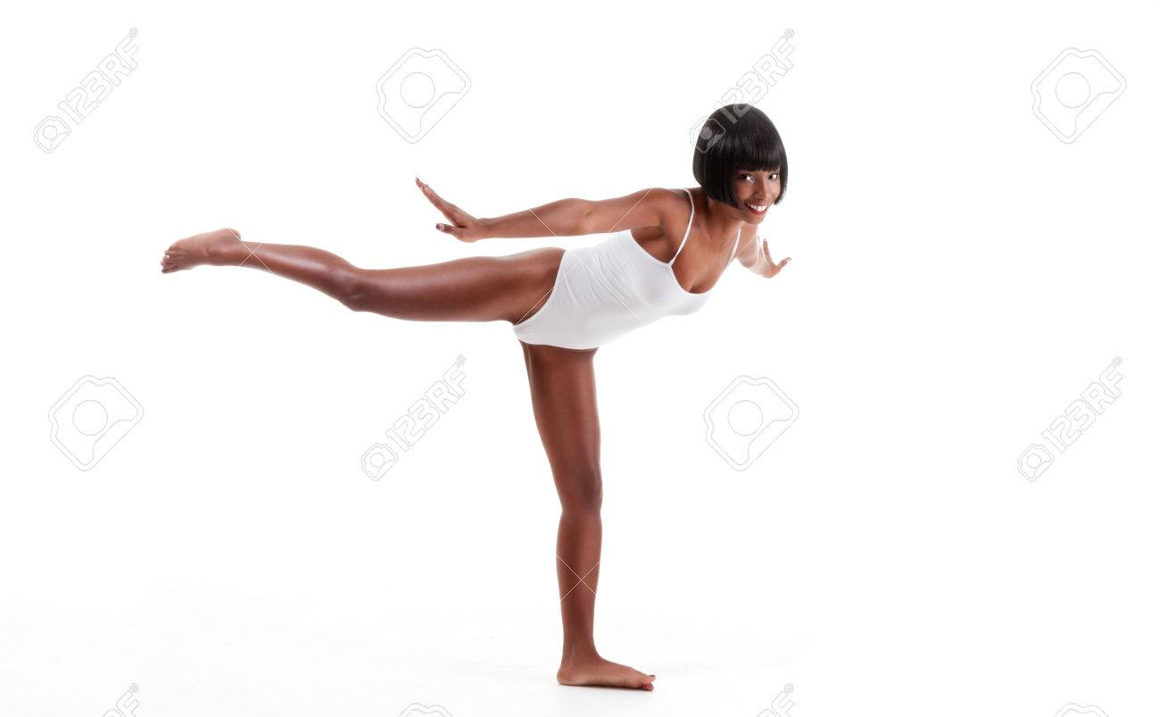black ethnic African-American gymnastics ballet dancer woman in white one piece leotard Stock Photo - 22672933