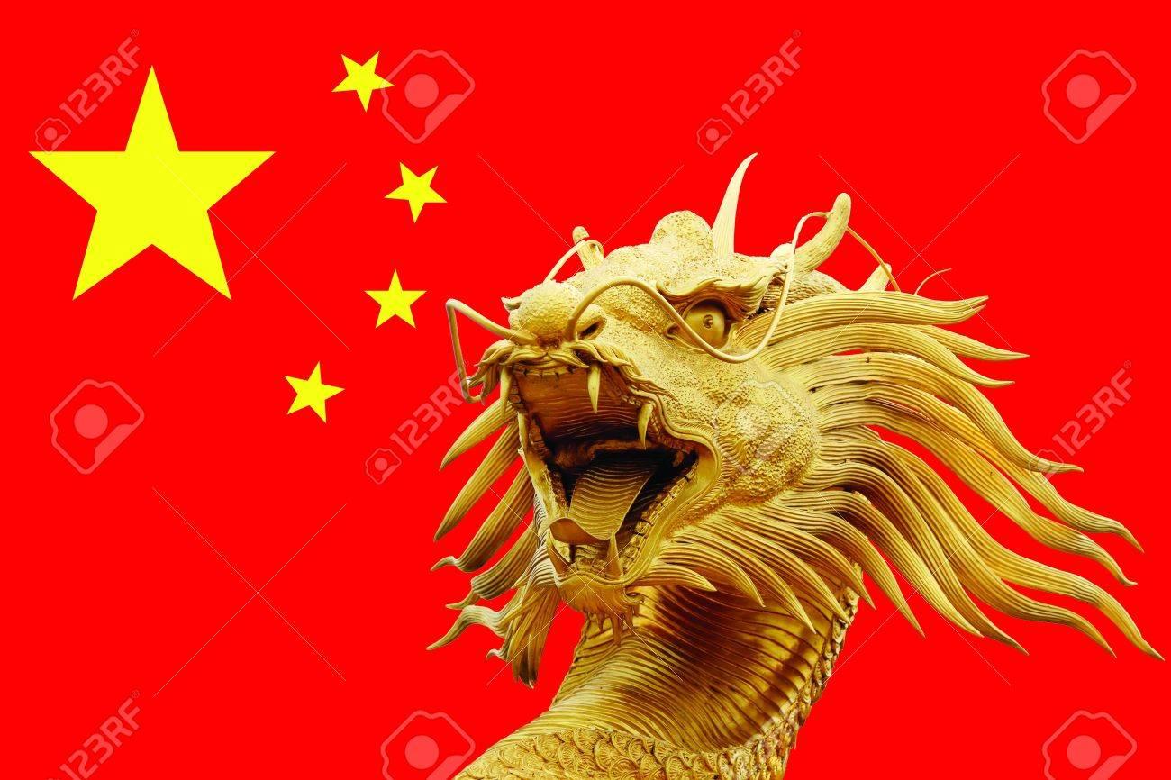 banque dimages sculpture de dragon en chine drapeau
