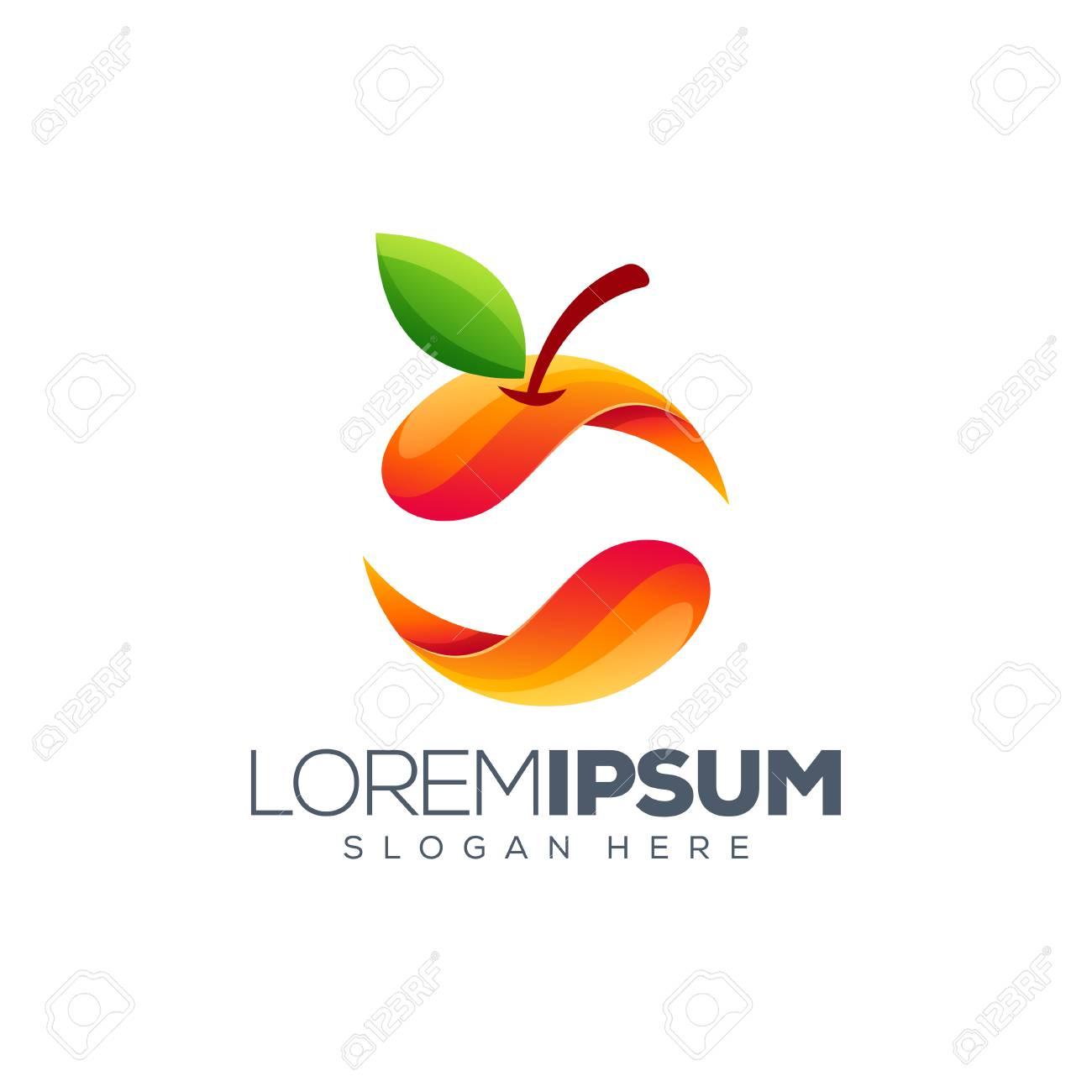 colorful orange logo design - 123595393