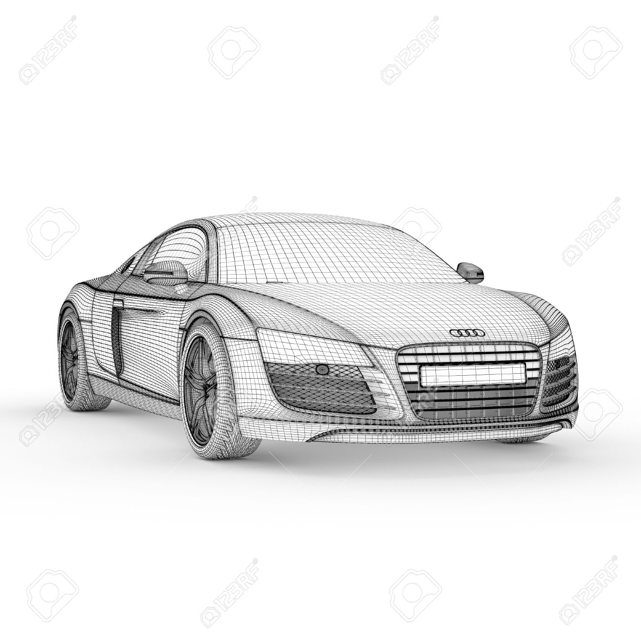 Car Model Drawing Graphic Design 3d Illustration Stock Photo ...
