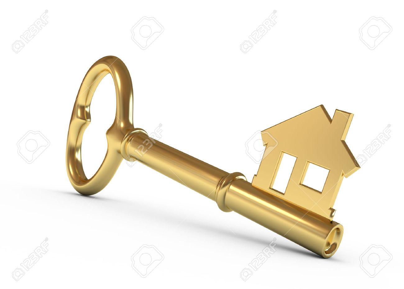 gold house key. Gold House Key Isolated On White. 3d Illustration. Stock Illustration - 9865213