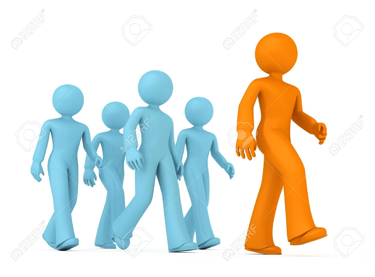 Group of 3D guys follow the leader. Stock Photo - 9865245