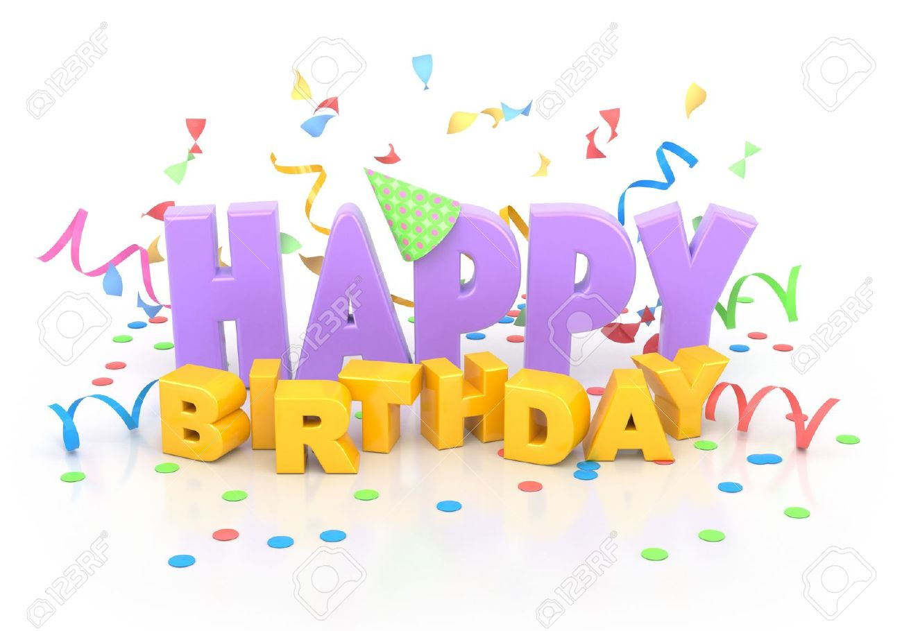 happy birthday words with decorations on white stock photo picture