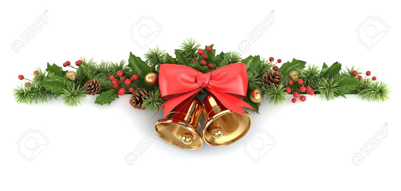 Pine Branches For Decoration Border From Decorated Christmas Tree Branches And Holly Stock