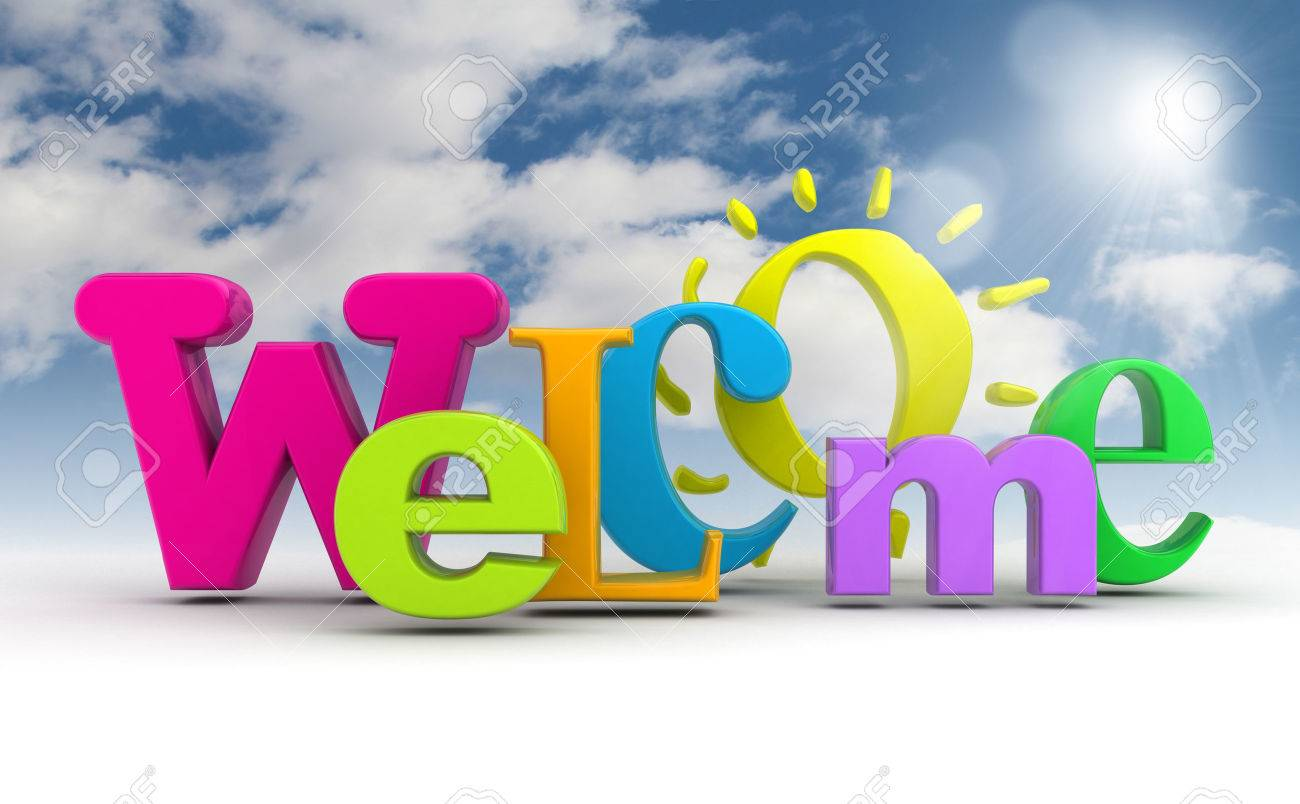 Stock illustration welcome word with the sun on the sky. - 38381436