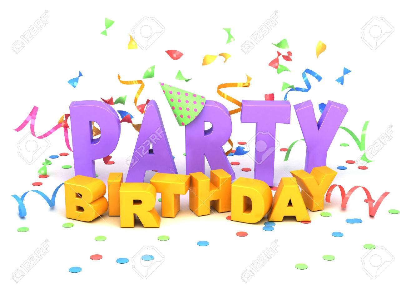 birthday party words on white background stock photo picture and