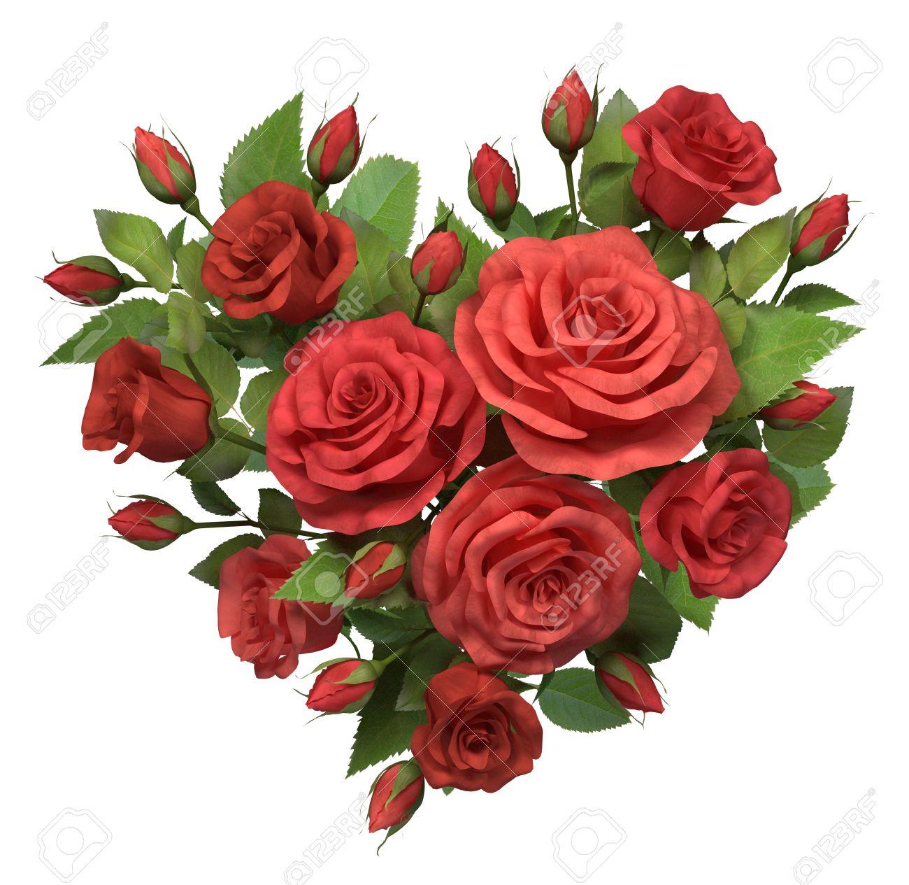 les roses rouges bouquet en forme de coeur isolé sur blanc 3d