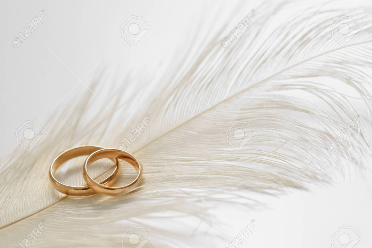Wedding delicate background with rings and feather on the white background. Tenderness, tender love concept. - 127293752