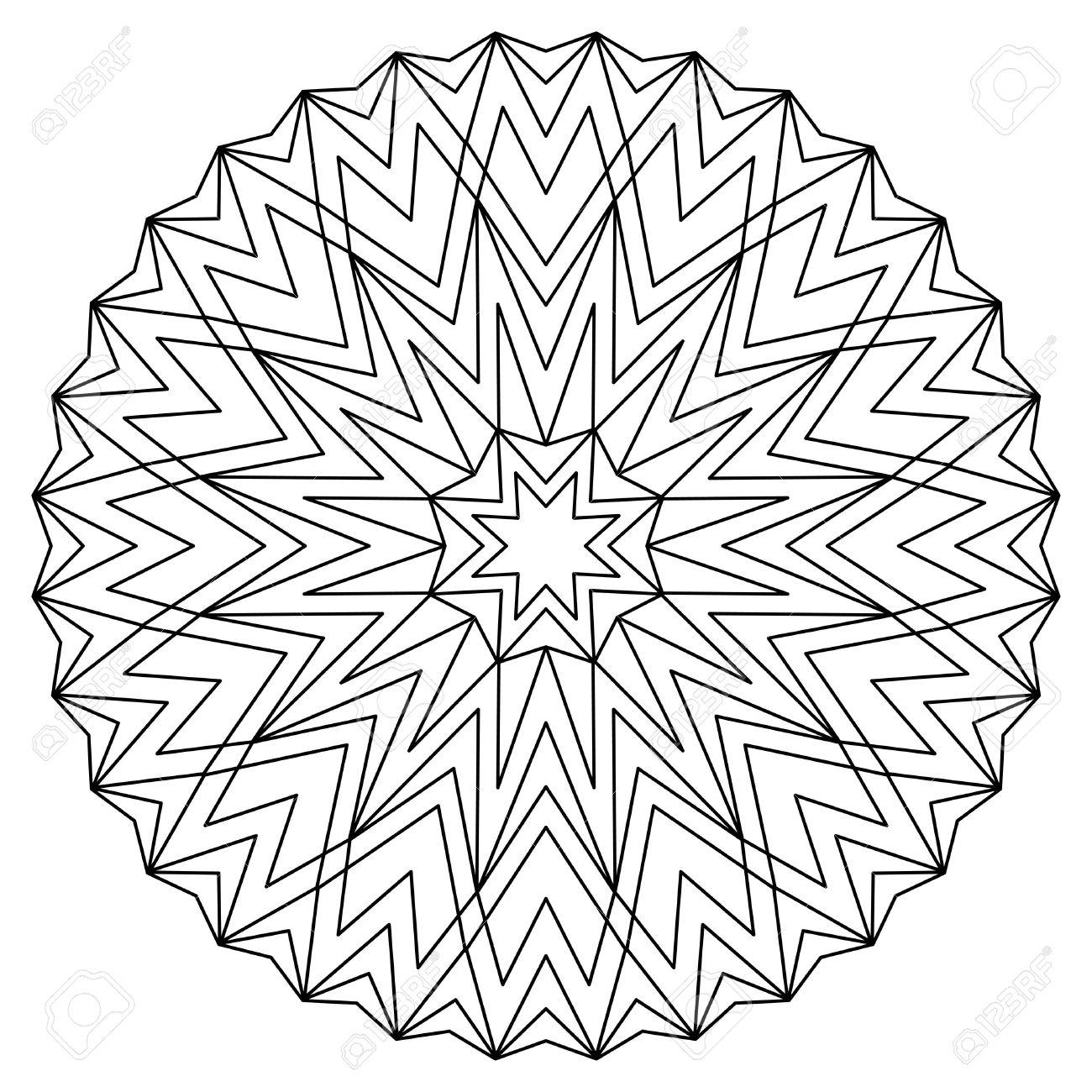Vector De Libro Para Colorear Antiestrés Con La Mandala Geométrica ...
