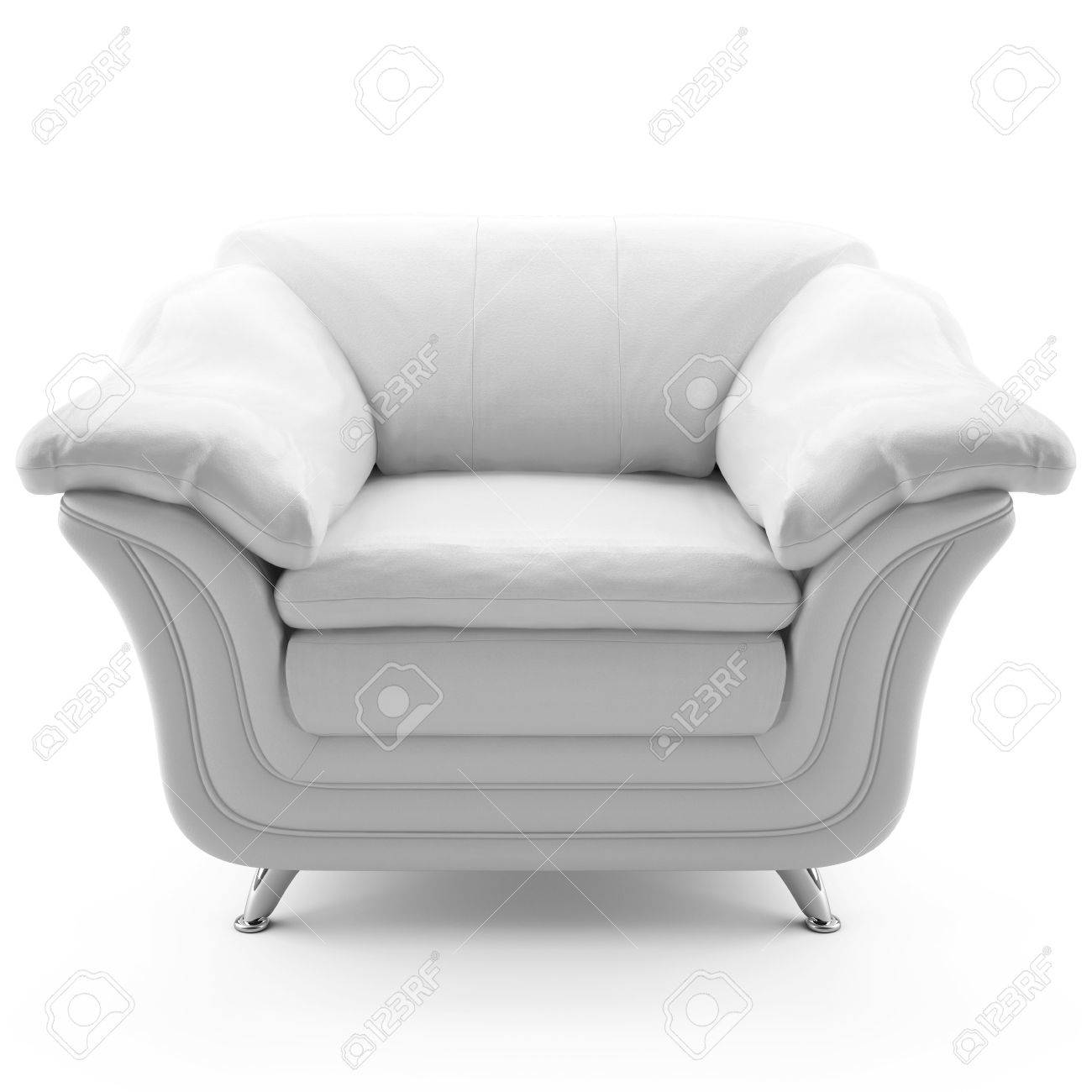 This 3D Image White Leather Armchair Stock Photo   6790278