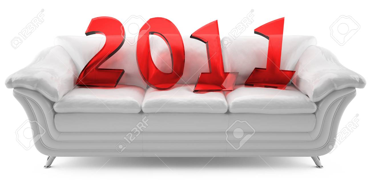 3D new year 2011 of red glass on the white leathern sofa Stock Photo - 8396522