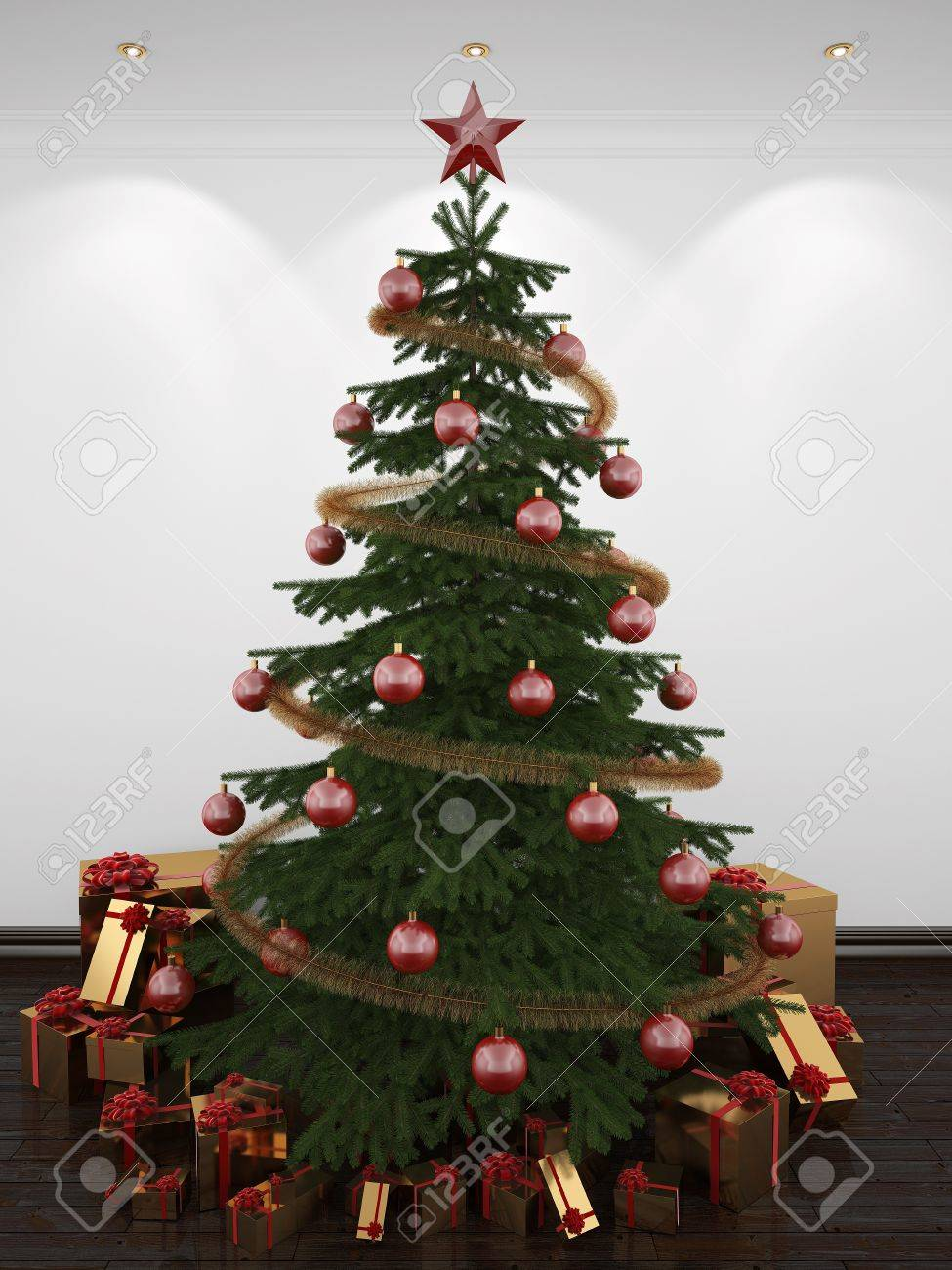 Christmas Tree Balloon.3d Christmas Tree In A White Room On The Dance Floor Decorated
