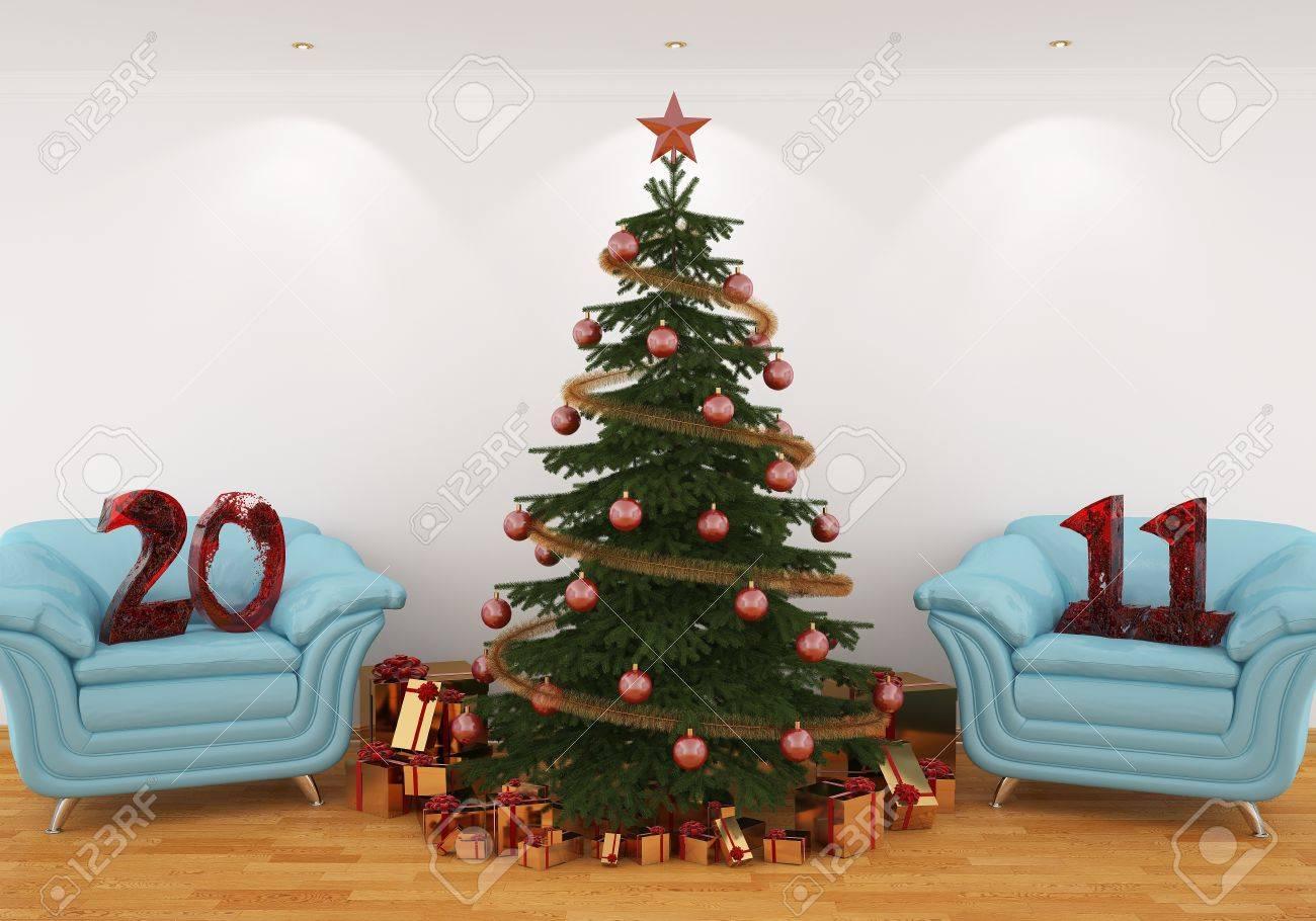 Sedie Decorate Per Natale : Immagini stock immagine d albero di natale all interno con