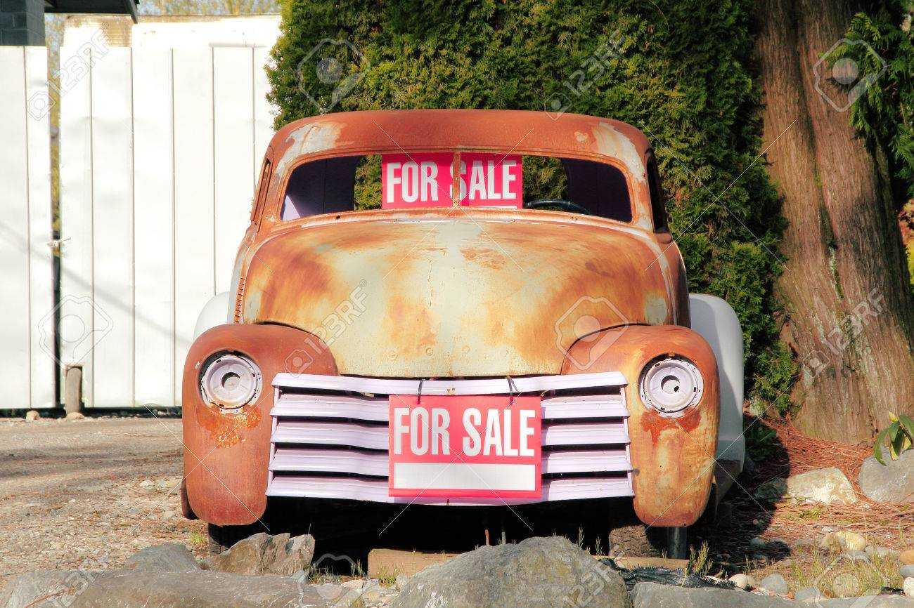A Classic American Car, Still Needing To Be Restored, Is For.. Stock ...