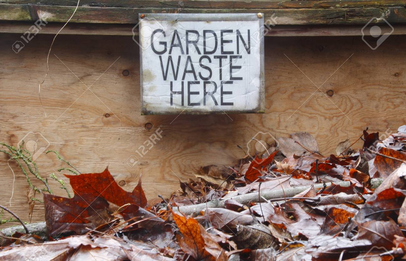 A Posted Sign Indicates Where Garden Compost Is Placed. Stock Photo ...