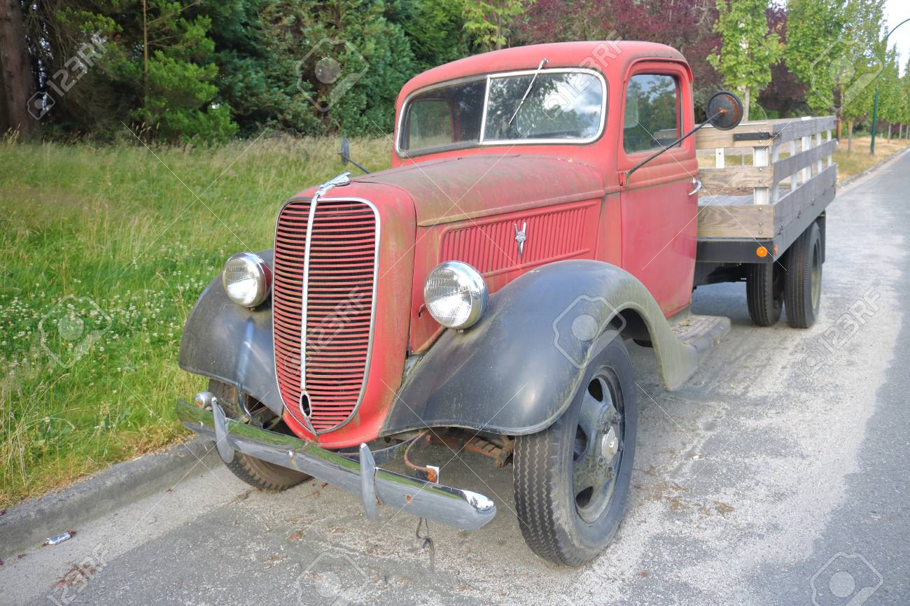 1938 Ford Truck >> A Tough And Rugged 1938 Ford Pickup Truck Parked On A Vancouver