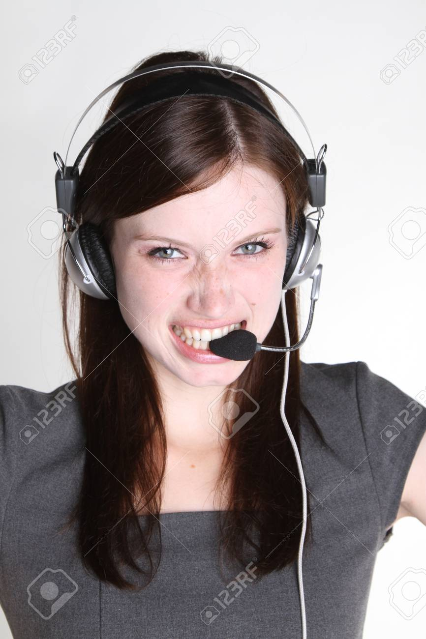 Woman with headset Stock Photo - 7906741